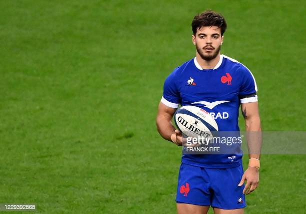 France's fly-half Romain Ntamack looks on during the Six Nations rugby union tournament match between France and Ireland at the stade de France, in...