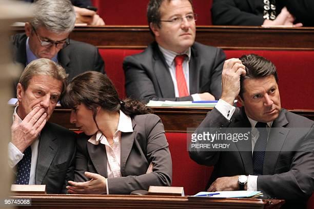 France's Foreign Affairs minister Bernard Kouchner Defence ministrer Herve Morin Junior minister for Urban Affairs Fadela Amara High commissioner for...