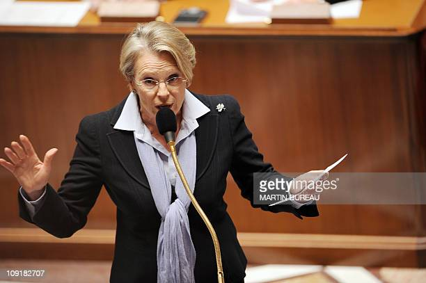 France's Foreign Affairs Minister Michele AlliotMarie delivers a speech during the weekly session of questions to the government on February 16 2011...
