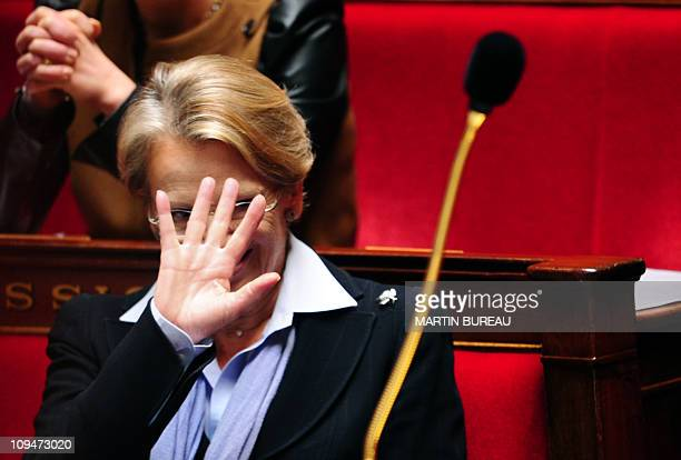 France's Foreign Affairs Minister Michele AlliotMarie gestures during the weekly session of questions to the government on February 16 2011 at the...