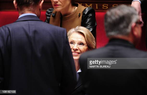 France's Foreign Affairs Minister Michele AlliotMarie takes part in the weekly session of questions to the government on February 16 2011 at the...