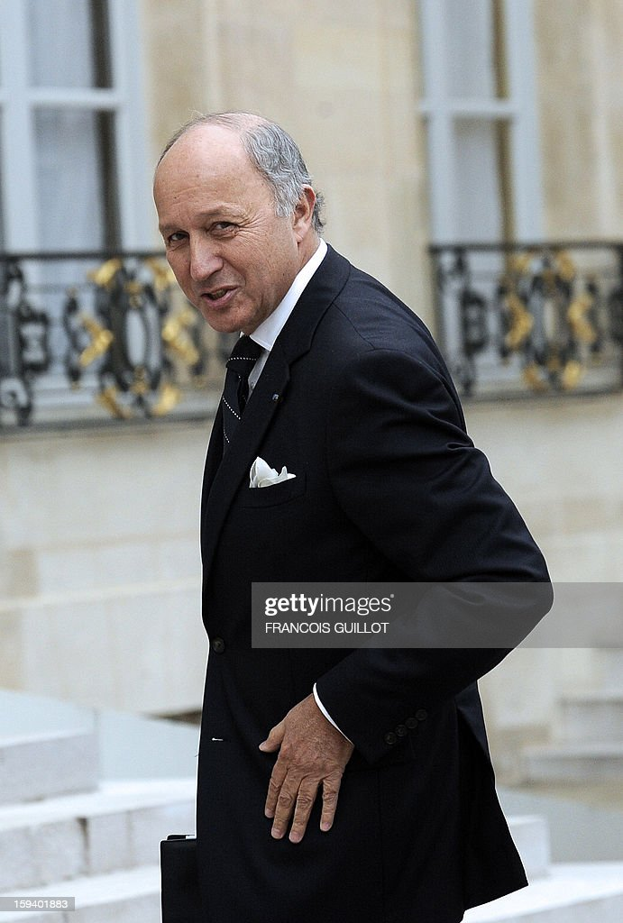 France's Foreign minister Laurent Fabius arrives at the Elysee presidential palace on January 13, 2013 in Paris to take part in a defence council focused on the situation in Mali. French forces carried out airstrikes in Mali today for a third straight day and extended their bombing campaign to the northern strongholds of Islamist forces they are trying to drive out of the centre of the country.