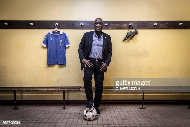 France's former football star Marius Tresor poses in a locker room in Bordeaux on February 7 2018