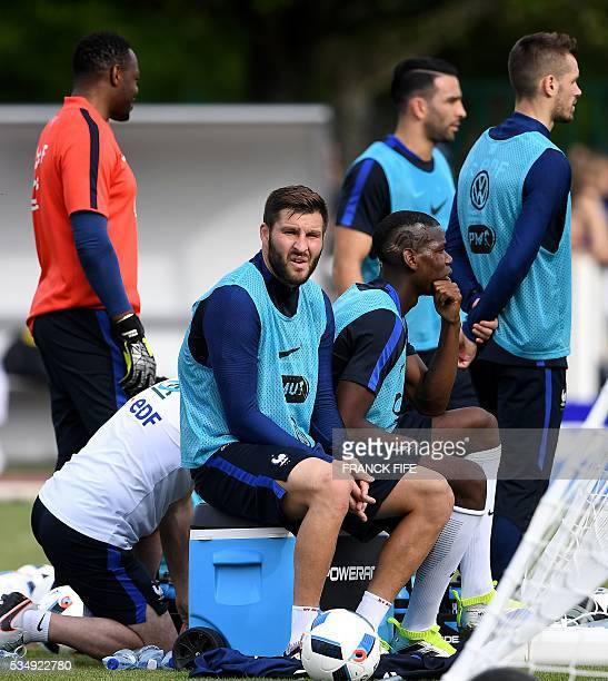 France's forward Andre Pierre Gignac attends a training session in Clairefontaine en Yvelines on May 28 as part of the team's preparation for the...