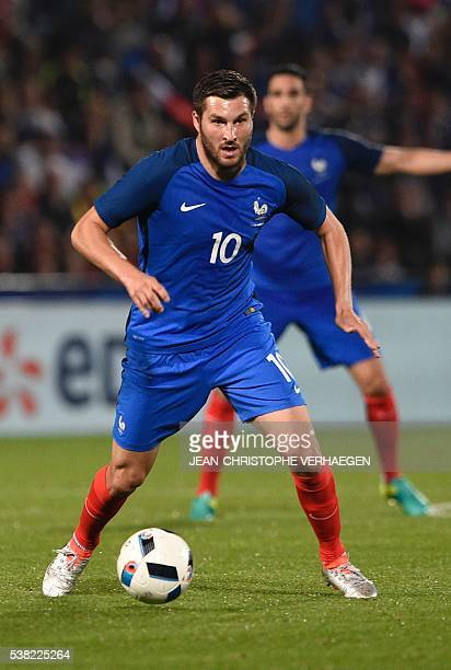 France's forward Andre Pierre Gignac controls the ball during the friendly football match between France and Scotland at the Saint Symphorien Stadium...