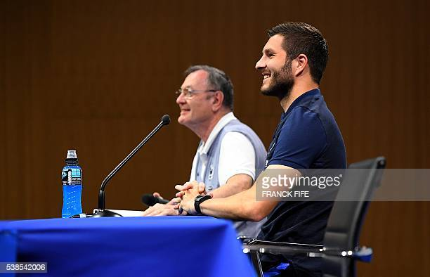 France's forward Andre Pierre Gignac gives a press conference in ClairefontaineenYvelines on June 7 three days ahead of the beginning of the Euro...