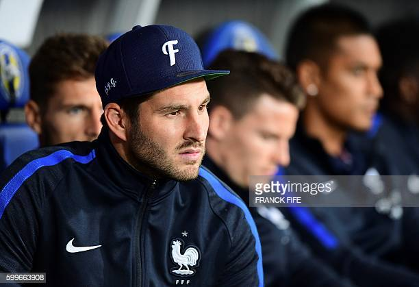 France's forward AndrePierre Gignac is pictured before the FIFA World Cup 2018 qualifying football match Belarus vs France on September 6 2016 at the...