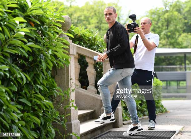 France's forward Antoine Griezmann arrives in ClairefontaineenYvelines on June 4 as part of the team's preparation for the upcoming FIFA Football...