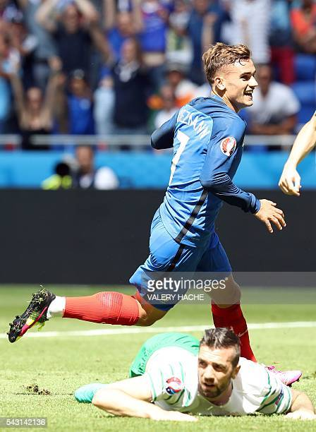 France's forward Antoine Griezmann celebrates scoring a goal during the Euro 2016 round of 16 football match between France and Republic of Ireland...