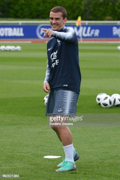 France's forward Antoine Griezmann during a training session at the French national football team centre in ClairefontaineenYvelines on May 25 2018...