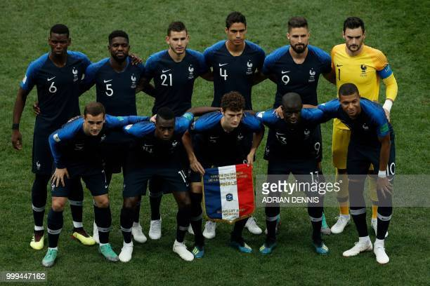 France's forward Antoine Griezmann France's midfielder Blaise Matuidi France's defender Benjamin Pavard France's midfielder N'Golo Kante France's...