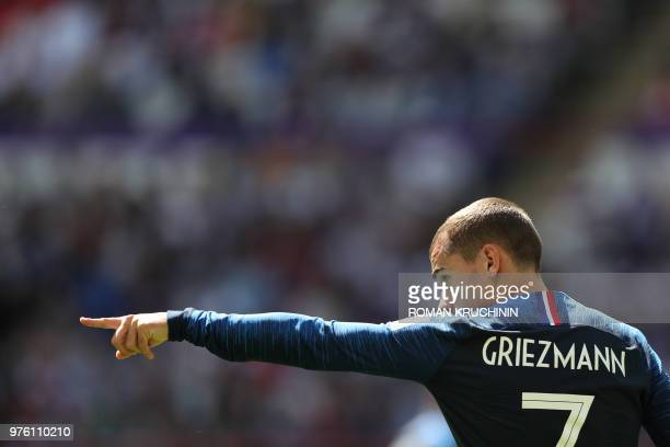 TOPSHOT France's forward Antoine Griezmann gestures during the Russia 2018 World Cup Group C football match between France and Australia at the Kazan...