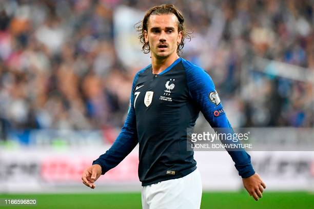 France's forward Antoine Griezmann looks on during the UEFA Euro 2020 qualifying Group H football match between France and Albania at the Stade de...