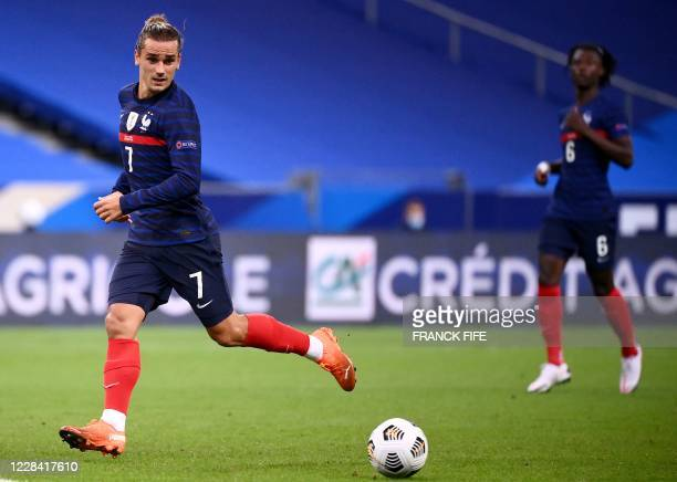 France's forward Antoine Griezmann plays the ball during the UEFA Nations League Group C football match between France and Croatia on September 8...
