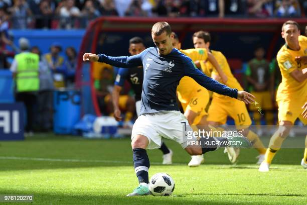 TOPSHOT France's forward Antoine Griezmann takes a penalty during the Russia 2018 World Cup Group C football match between France and Australia at...