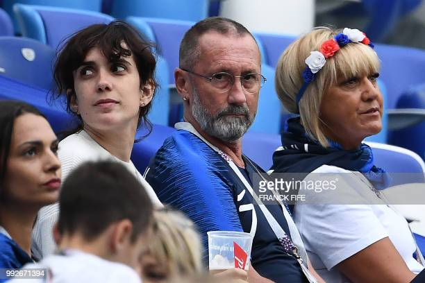 France's forward Antoine Griezmann's sister Maud and parents Alain and Isabelle wait for the start of the the Russia 2018 World Cup quarterfinal...