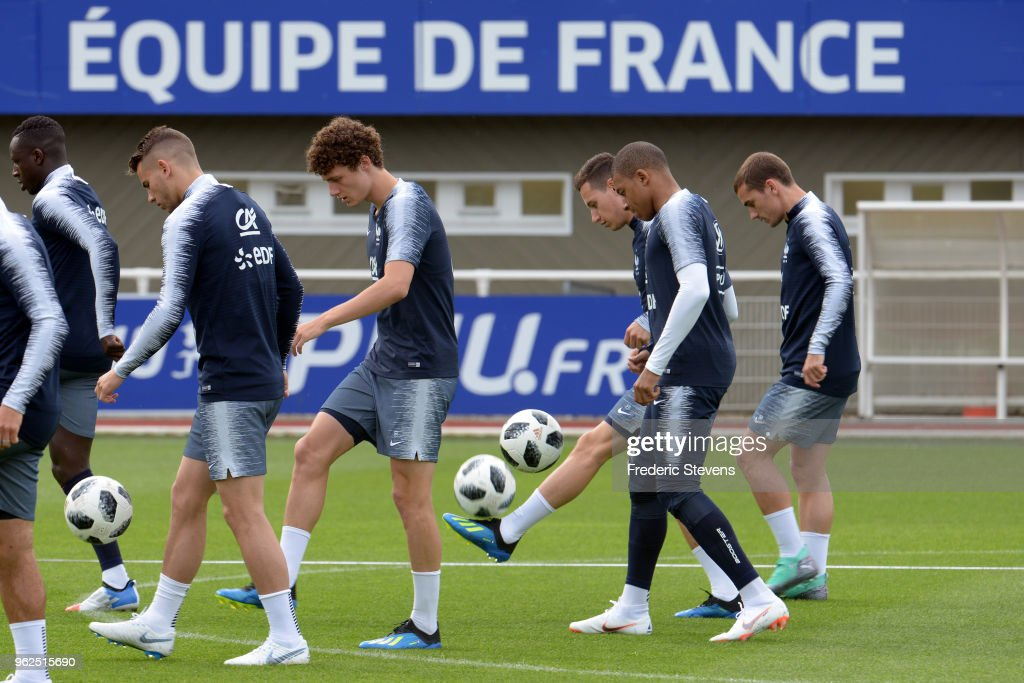 France's forward Benjamin Pavard during a training session at the French national football team centre in Clairefontaine-en-Yvelines on May 25, 2018 in Clairefontaine, France. The French national football team begin their preparation for the upcoming FIFA 2018 World Cup in Russia.