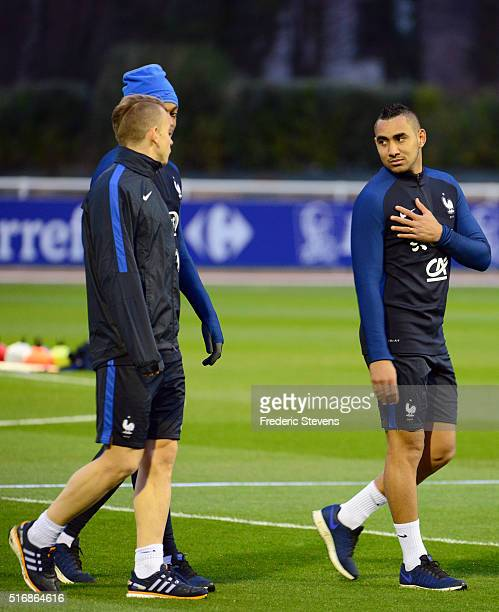 France's forward Dimitri Payet reacts during a training session on March 21 2016 Clairefontaine France The first day of their training ahead of the...