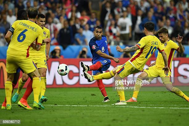 TOPSHOT France's forward Dimitri Payet scores the 21 during the Euro 2016 group A football match between France and Romania at Stade de France in...