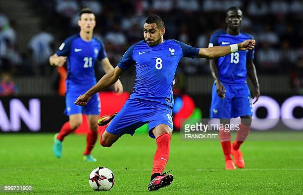 France's forward Dumitri Payet kicks the ball during the FIFA World Cup 2018 qualifying football match Belarus vs France on September 6 2016 at the...