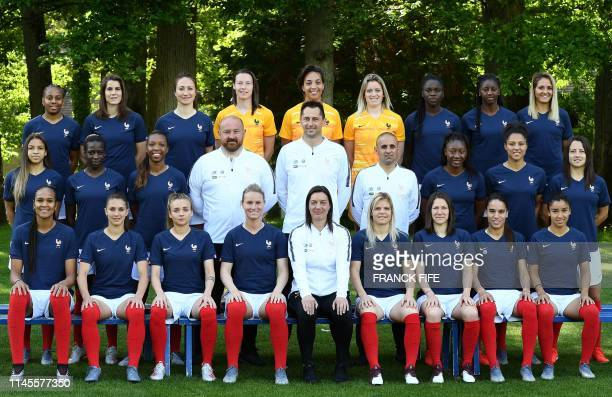 France's forward Emelyne Laurent midfielder Charlotte Bilbault forward Gaetane Thiney goalkeeper Pauline PeyraudMagnin goalkeeper Sarah Bouhaddi...