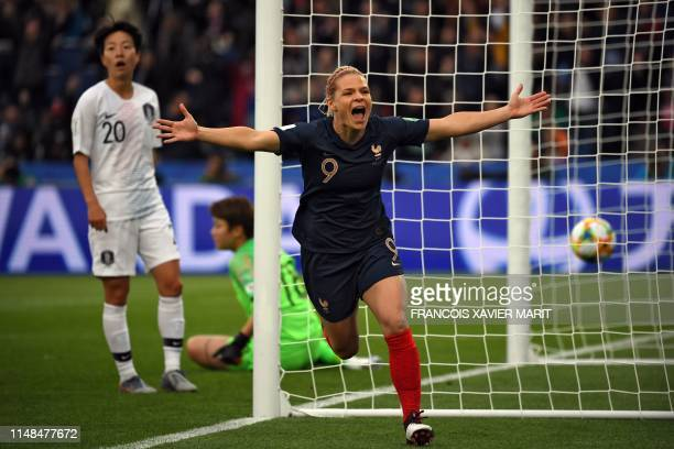 TOPSHOT France's forward Eugenie Le Sommer celebrates after scoring a goal during the France 2019 Women's World Cup Group A football match between...