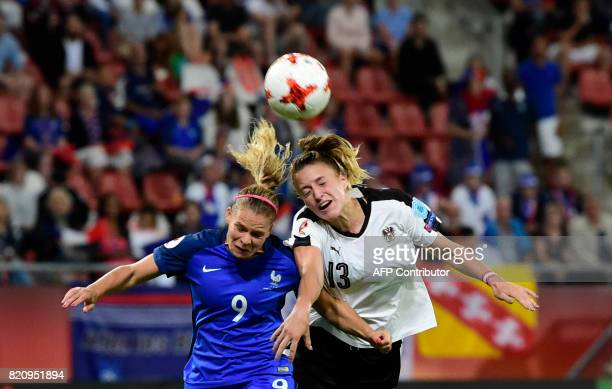 France's forward Eugenie Le Sommer vies with Austria's defender Virginia Kirchberger during the UEFA Women's Euro 2017 football tournament between...