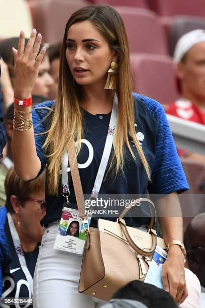 France's forward Florian Thauvin's girlfriend Charlotte Pirroni arrives to attend the Russia 2018 World Cup Group C football match between Denmark...