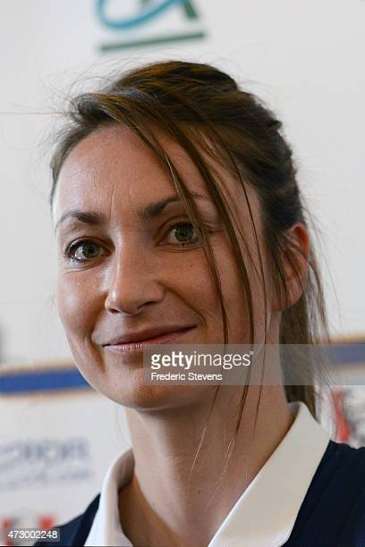 France's forward Gaetane Thiney during a press conference before a training session as part of the preparation for a upcoming FIFA 2015 World Cup at...