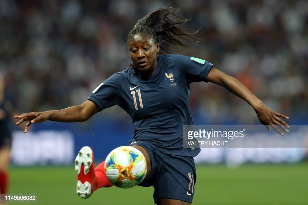 France's forward Kadidiatou Diani controls the ball during the France 2019 Women's World Cup Group A football match between France and Norway on June...