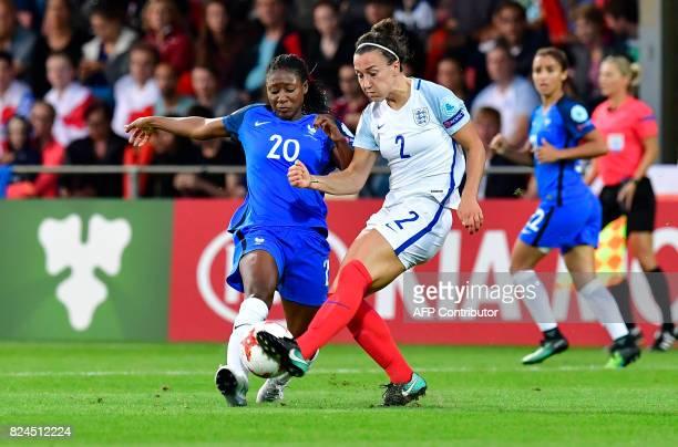 France's forward Kadidiatou Diani vies with England's defender Lucia Bronze during the UEFA Women's Euro 2017 tournament quarterfinal football match...