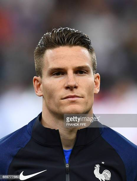France's forward Kevin Gameiro is pictured prior to the friendly football match France vs Spain on March 28 2017 at the Stade de France stadium in...