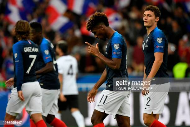 France's forward Kingsley Coman celebrates after scoring a goal during the UEFA Euro 2020 qualifying Group H football match between France and...