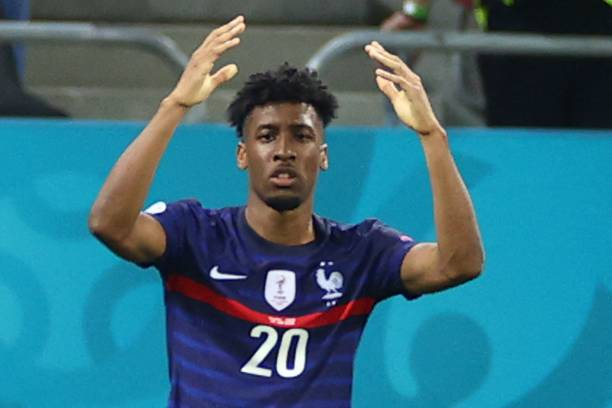 France's forward Kingsley Coman reacts after a missed chance during the UEFA EURO 2020 round of 16 football match between France and Switzerland at...