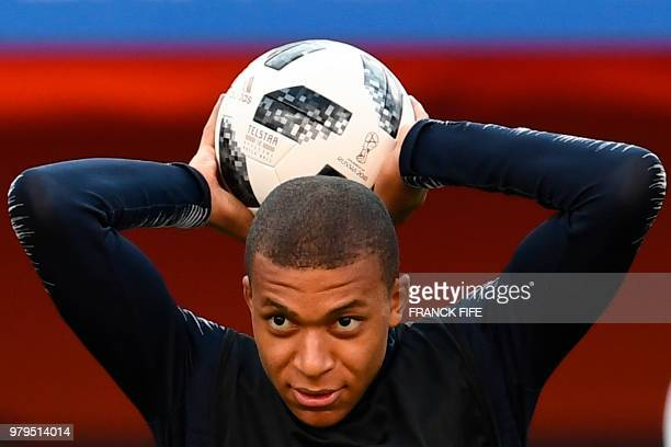 France's forward Kylian Mbappe attends a training session at the Ekaterinburg Arena in Ekaterinburg on June 20 2018 on the eve of the Russia 2018...