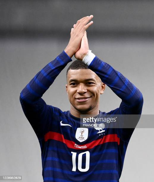 France's forward Kylian Mbappe celebrates at the end of the International friendly football match between France and Ukraine, on October 7, 2020 in...