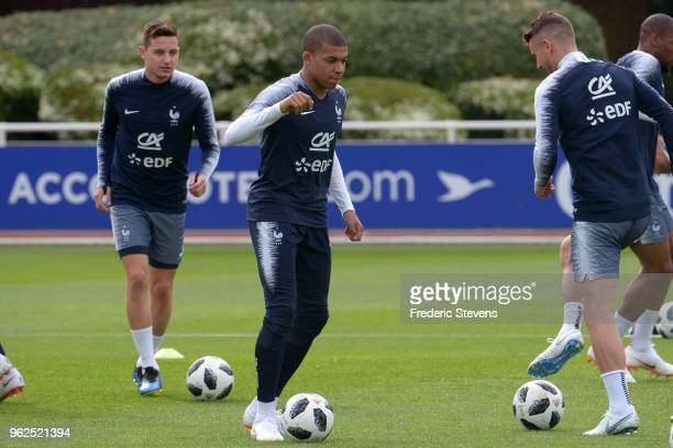 France's forward Kylian Mbappe during a training session at the French national football team centre in ClairefontaineenYvelines on May 25 2018 in...