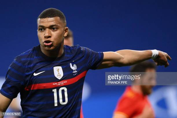 France's forward Kylian Mbappe gestures during the friendly football match between France and Wales at the Allianz Riviera Stadium in Nice, southern...