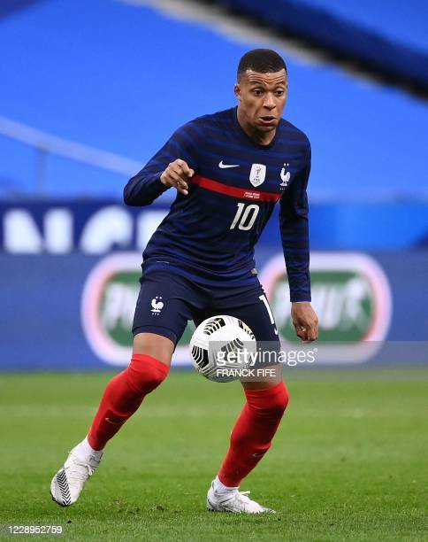 France's forward Kylian Mbappe plays the ball during the International friendly football match between France and Ukraine, on October 7, 2020 in...