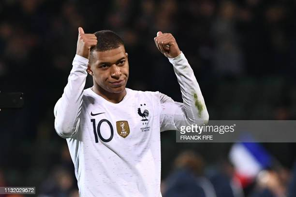 France's forward Kylian Mbappe reacts at the end of the Euro 2020 qualifying football match between Moldova and France, on March 22, 2019 at Zimbru...