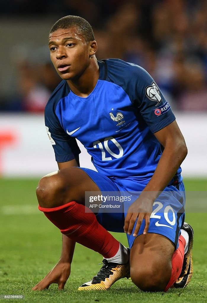 France's forward Kylian Mbappe reacts during the FIFA World Cup 2018 qualifying football match France vs Luxembourg on September 3, 2017 at the Municipal Stadium in Toulouse, southern France. /
