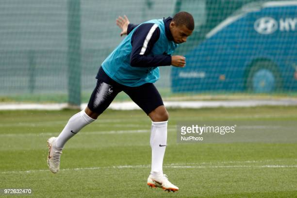France's forward Kylian Mbappe takes part in a training session at the Glebovets stadium in Istra on June 12 ahead of the Russia 2018 World Cup...