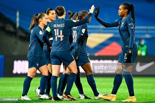 Frances forward Marie-Antoinette Katoto celebrates after scoring her team's third goal during the Women's UEFA Euro 2022 Group G qualifier football...