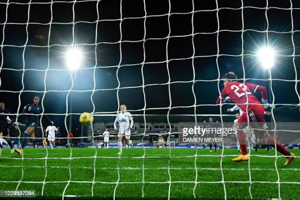 Frances forward Marie-Antoinette Katoto scores a goal during the Women's UEFA Euro 2022 Group G qualifier football match between France and...