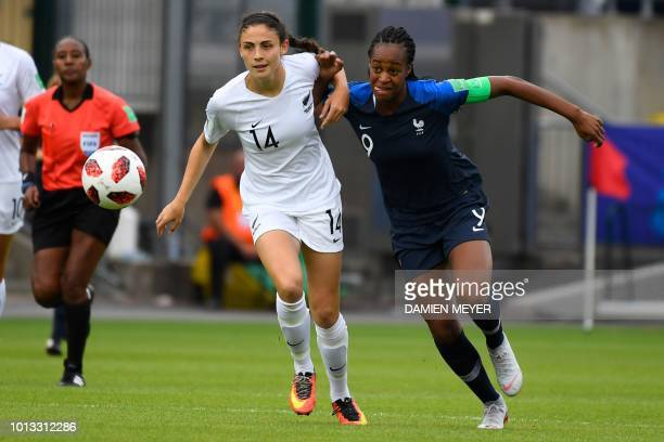 France's forward MarieAntoinette Katoto vies with New Zealand's defender Claudia Bunge during the Women's World Cup U20 Group A football match...
