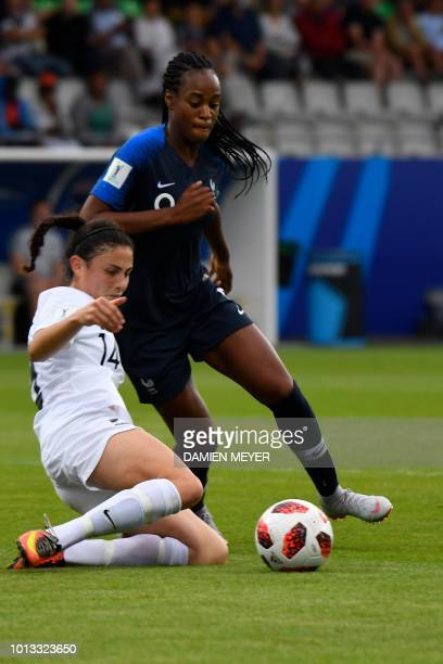 France's forward Marie-Antoinette Katoto vies with New Zealand's defender Claudia Bunge during the Women's World Cup U20 Group A football match...