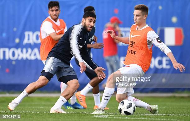 France's forward Nabil Fekir plays the ball during a friendly football match against a selection of 19yearold players from Spartak Moscow at the...
