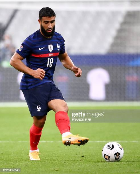 France's forward Nabil Fekir plays the ball during the UEFA Nations League Group C football match between France and Croatia on September 8 2020 at...
