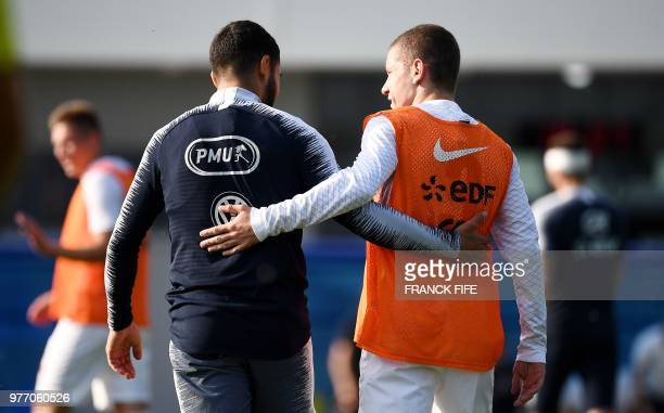 France's forward Nabil Fekir reacts at the end of a friendly football match against a selection of 19yearold players from Spartak Moscow at the...