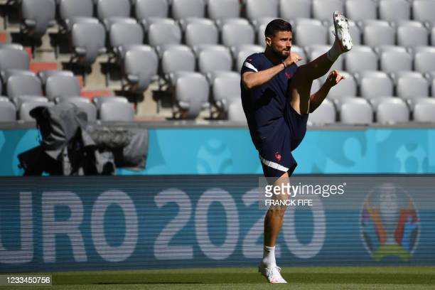 France's forward Olivier Giroud attends an MD-1 training session at the Allianz Arena in Munich on June 14 on the eve of their UEFA EURO 2020...